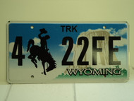WYOMING Bucking Bronco Devils Tower Truck License Plate 4 22FE