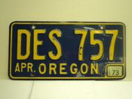 1973 OREGON License Plate DES 757