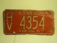1971 KANSAS July Exp License Plate HV 4354