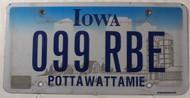 Iowa Pottawattamie Co 099 RBE License Plate