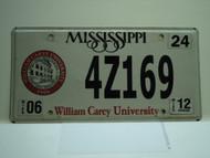 2012 MISSISSIPPI William Carey University License Plate 4Z169