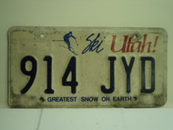 UTAH SKI Greatest Snow on Earth License Plate 914 JYD