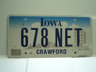 IOWA License Plate 678 NET