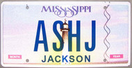 Mississippi Vanity License Plate ASHJ