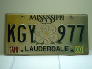 2000 MISSISSIPPI Magnolia License Plate KGY 977