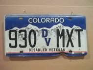 Colorado 930 DV MXT License Plate