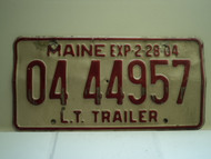 2004 MAINE Trailer License Plate 0444957