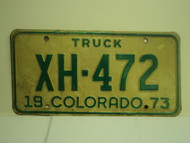 1973 COLORADO Truck License Plate XH 472