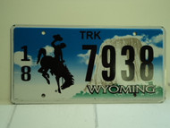 WYOMING Bucking Bronco Devils Tower Truck License Plate 18 7938