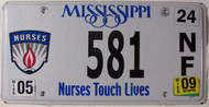 2009 May Mississippi Nurses License Plate 581 NF