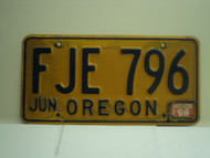 1996 OREGON License Plate FJE 796