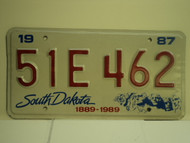 1987 SOUTH DAKOTA Centennial 1889 1989 License Plate 51E 462