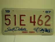 1987 SOUTH DAKOTA Centennial 1889 1989 License Plate 51E 462