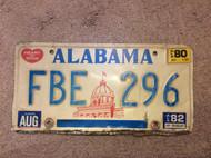 1980 1982 Aug Alabama FBE 296 License Plate