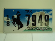 WYOMING Bucking Bronco Devils Tower Truck License Plate 18 7949 1