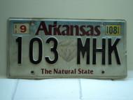 2008 ARKANSAS Natural State License Plate 103 MHK