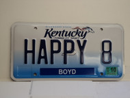 2012 KENTUCKY VANITY License Plate Happy 8