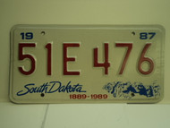 1987 SOUTH DAKOTA Centennial 1889 1989 License Plate 51E 476 1