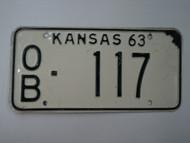 1963 KANSAS License Plate OB 117