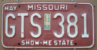 1982 May Missouri GTS-381 License Plate DMV Clear YOM