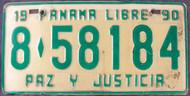 1990 Panama Libre License Plate