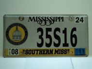 2011 MISSISSIPPI Southern Miss University License Plate 35S16