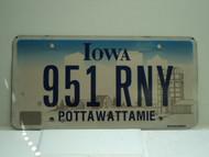 IOWA License Plate 951 RNY