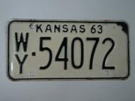 1963 KANSAS License Plate WY 54072