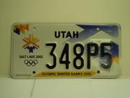 UTAH Salt Lake City Winter Olympics 2002 License Plate 348P5