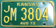 1973 Aug JO M Kansas License Plate 3804