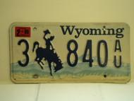 1999  WYOMING Bucking Bronco License Plate 3 840 AU
