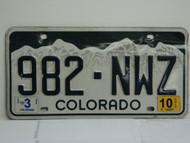 2010 COLORADO License Plate 982 NWZ