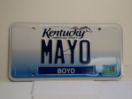 2012 KENTUCKY VANITY License Plate MAYO