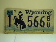 1998 WYOMING Bucking Bronco License Plate 1 566 BG