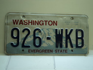Washington Evergreen State License Plate 926 WKB