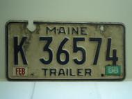 1996 MAINE Trailer License Plate K 36574