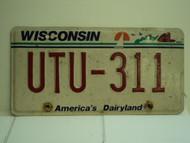 WISCONSIN America's Dairyland License Plate UTU 311