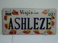 2003 VIRGINIA Vanity License Plate ASHLEZE