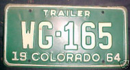 1964 Baca Colorado License Plate WG-165