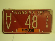 1965 KANSAS House Trailer License Plate HV 48