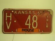 1965 KANSAS House Trailer License Plate HV 48