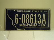 2010 MONTANA Treasure State License Plate 6 08613A