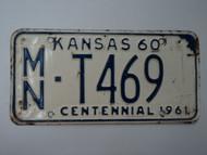 1960 KANSAS 1961 Centennial Truck License Plate MN T 469