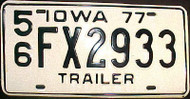 1977 Lee Co Iowa Trailer License Plate FX 2933