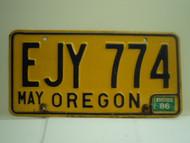 1986 OREGON License Plate EJY 774
