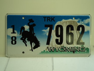 WYOMING Bucking Bronco Devils Tower Truck License Plate 18 7962 1