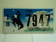 WYOMING Bucking Bronco Devils Tower Truck License Plate 18 7947