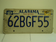 1996 ALABAMA Heart of Dixie License Plate 62BGF55