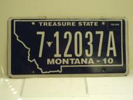 2010 MONTANA Treasure State License Plate 7 12037A