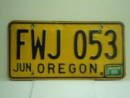 1986 OREGON License Plate FWJ 053